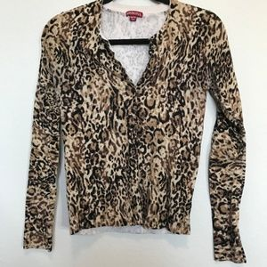 Merona Cheetah Animal Print Button Down Sweater